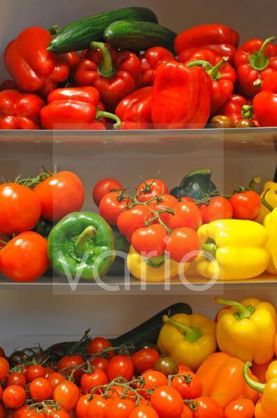 buntes Gemueseregal mit roten Paprika, Strauchtomaten, gruenen Gurken, gelben Paprika