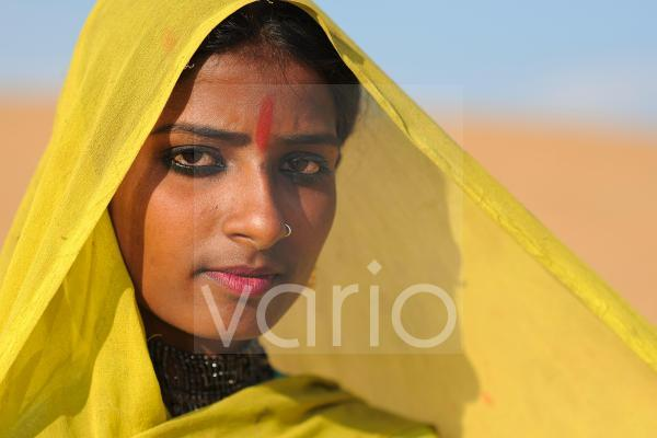 Indian girl with yellow veil