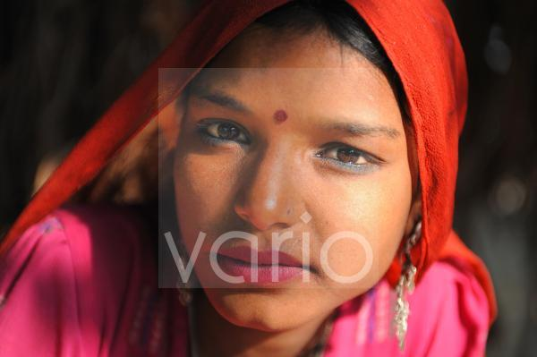 Indian girl with red veil