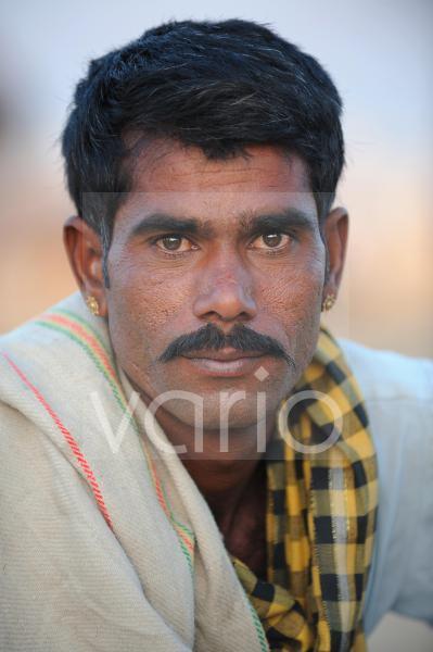 Portrait of camel shepherd in Pushkar Fair