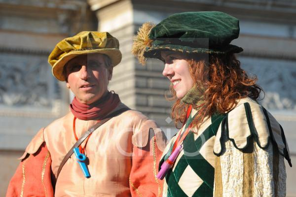 Couple wearing with costume for carnival festival in Rome