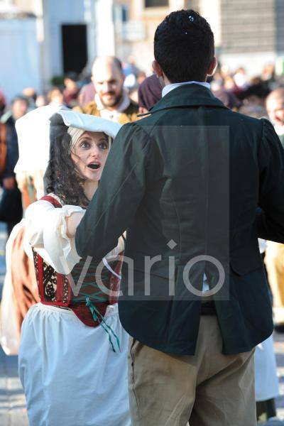 Couple dance with traditional dress in Rome Carnival