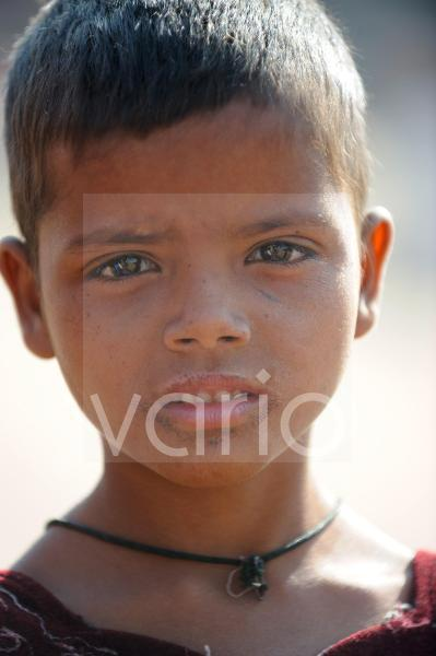 Portrait of cute indian girl in Pushkar fair