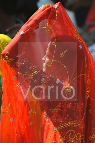 Indian woman with the veil over her face