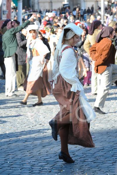 Italian girl dance in Rome carnival festival