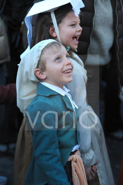 Couple of child with traditional costume in carnival festival in Rome