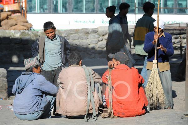 Indian men take relax before job