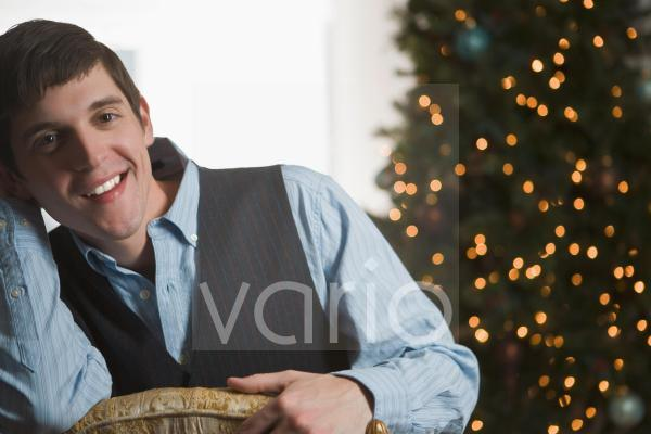 Portrait of young man on Christmas