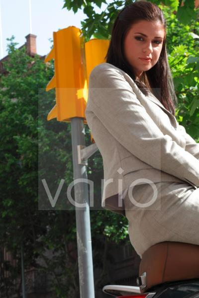 Low angle view of businesswoman smiling