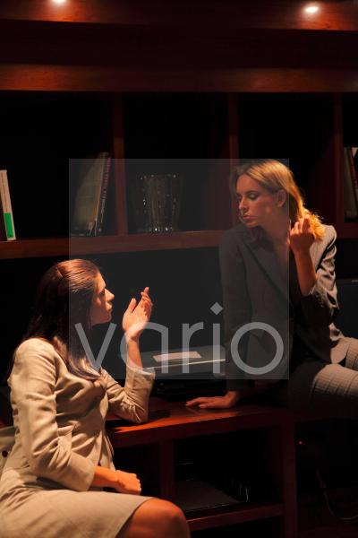 Two business women in conversation looking at each other