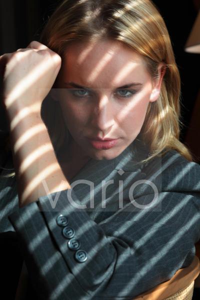 Portrait of businesswoman staring