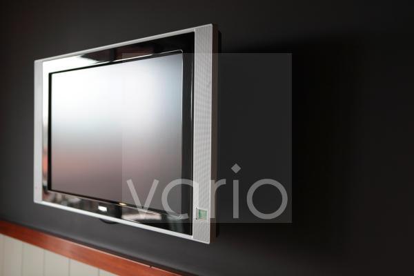 Close-up of flat screen television set