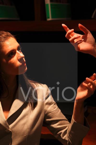 Close-up of businesswomen in conversation