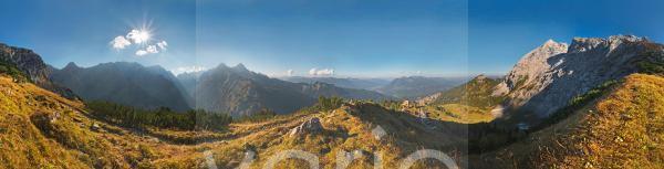 360° Panorama, Wettersteingebirge, Garmisch-Partenkirchen, Bayern, Deutschland, Europa