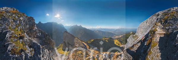 360° Panorama auf dem Weg zur Meilerhütte, Garmisch-Partenkirchen, Wettersteingebirge, Bayern, Deutschland, Europa