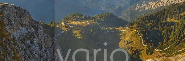 Panorama mit Schachenhaus, Garmisch-Partenkirchen, Wettersteingebirge, Bayern, Deutschland, Europa