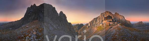360°Panorama am Törlgatterl mit Törlspitze und Meilerhütte bei Sonnenuntergang, Garmisch-Partenkirchen, Wettersteingebirge, Bayern, Deutschland, Europa