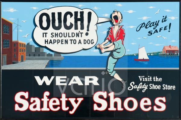 Och, Aua, Comic, witziges Warnschild zum Tragen von Sicherheitsschuhen, Boston National Historical Park, BNHP, Hafen von Boston, Massachusetts, Neuengland, USA, Nordamerika, Amerika
