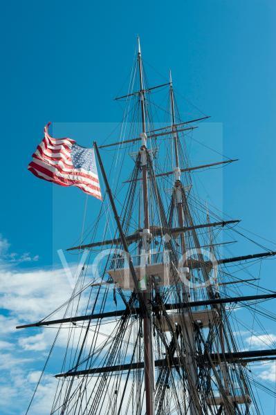 Museumsschiff USS Constitution, Masten, Takelage, Nationalflagge, Fregatte, United States Navy, Charlestown Navy Yard, Freedom Trail, Boston, Massachusetts, Neuengland, USA, Nordamerika, Amerika