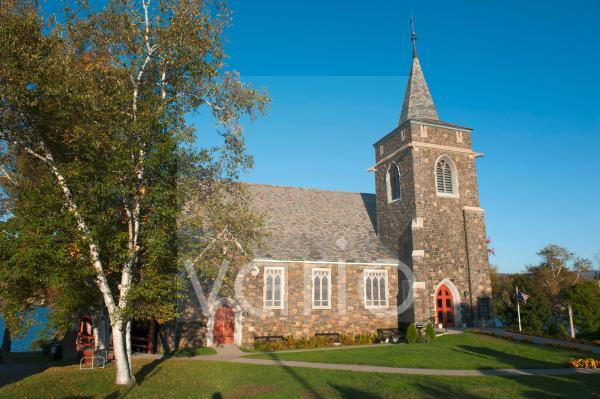 Adirondack Community Church, Methodisten, Kirche am Mirror Lake, Lake Placid, New York State, USA, Nordamerika, Amerika