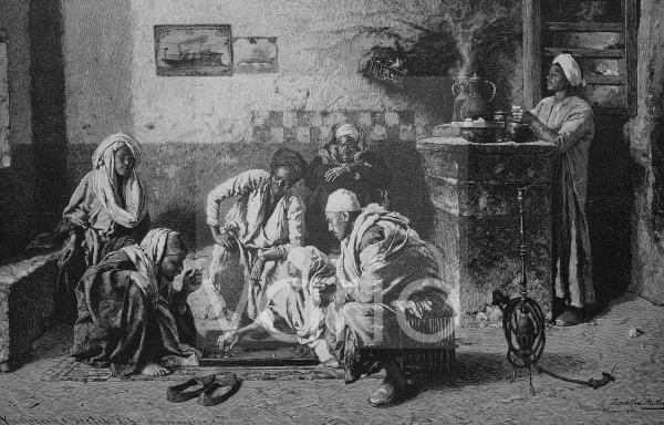 Trick-Track Spieler in einem ägyptischen Kaffeehaus, historischer Stich, 1883