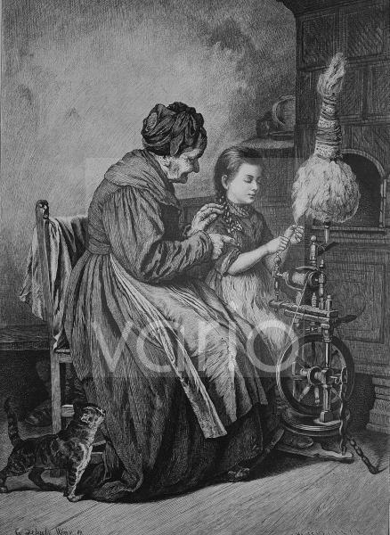 Unterricht im Spinnen, historischer Stich, 1883