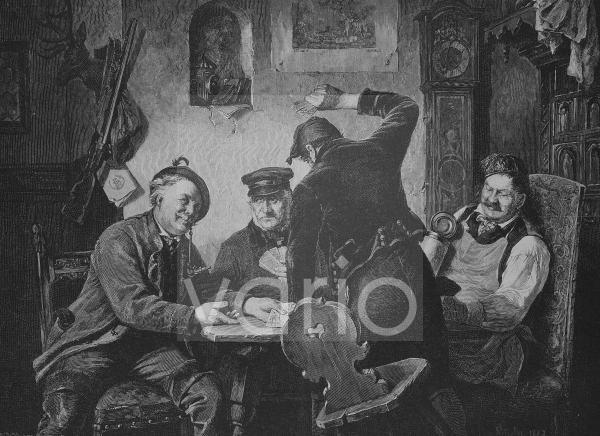 Schafkopfspieler in einem Dorfwirtshaus, historischer Stich, 1883