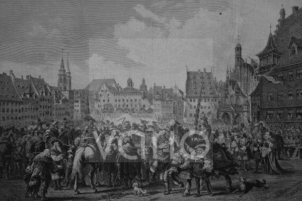 Das Gesellenstechen auf dem Marktplatz zu Nürnberg, 1446, historischer Stich, 1883