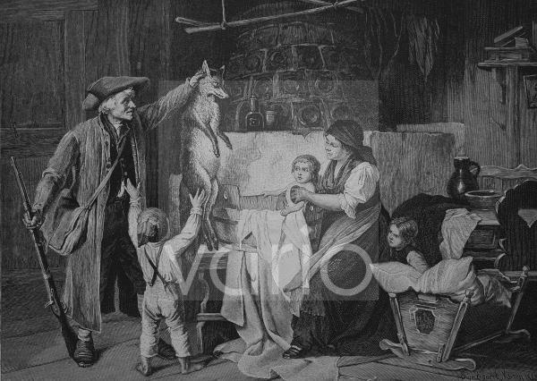 Jäger bringt erlegten Fuchs mit nach Hause, historischer Stich, 1883