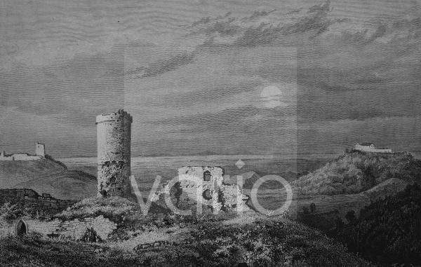 """Die """"drei Gleichen"""", ein mittelalterliches Burgenensemble, Thüringen, Deutschland, historischer Stich, 1883"""