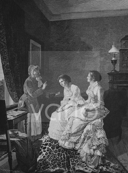 Bei der Kartenlegerin, historischer Stich, 1883