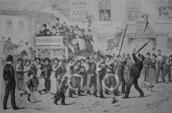 Die Seligmacher-Armee, Heilsarmee, in London, England, historischer Stich, 1883