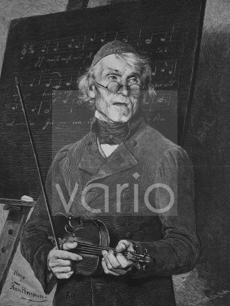 Alter Musiklehrer mit Violine, historischer Stich, 1883