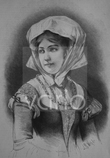 Deutsches Bürgermädchen aus dem 16. Jahrhundert, historischer Stich, 1883