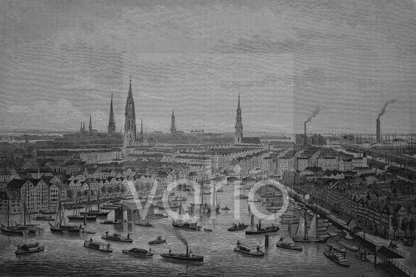 Der wegen des Freihafenbaues abzubrechende Stadtteil von Hamburg, Butenkajen, Kehrwieder, Deutschland, historischer Stich, 1883