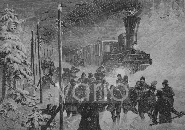 Zug ist im Schnee steckengeblieben und wird freigeschaufelt, historischer Stich, 1883