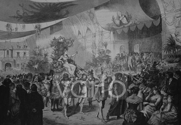"""Der Festzug des """"Vereins Berliner Künstler"""" am 3.3.1883, historischer Stich, 1883"""