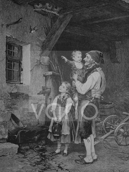 Bauer zeigt den Kindern die nestbauenden Schwalben, historischer Stich, 1883