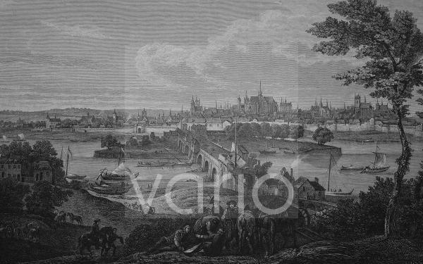Orleans, Frankreich, im Jahre 1690, historischer Stich, 1883