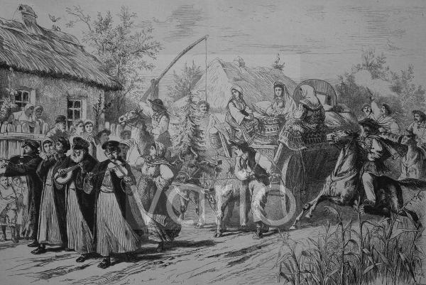Hochzeitsfeier in Rumänien, historischer Stich, 1883