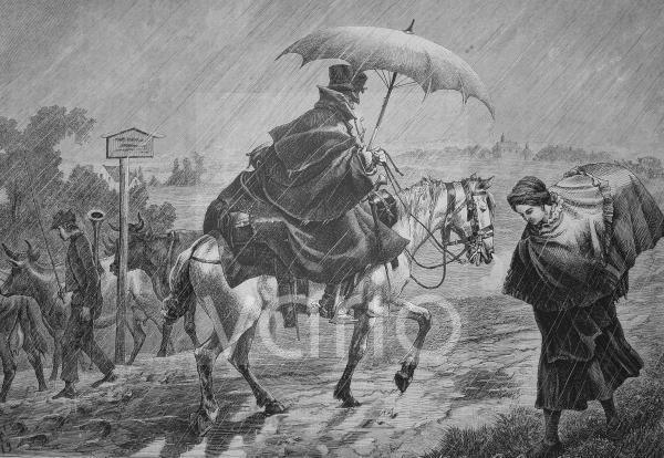 Musterreiter bei Regen, historischer Stich, 1883