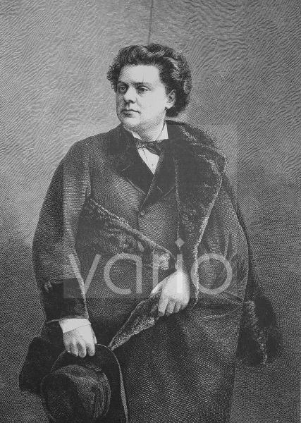 August Wilhelmj, 1845 - 1908, ein deutscher Violinist, historischer Stich, 1883