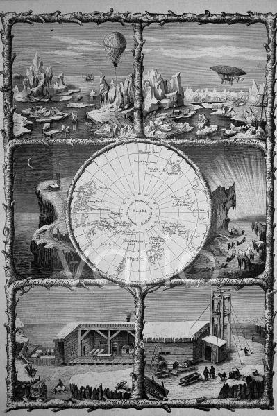 Vorstellung der Eroberung des Nordpol, historischer Stich, 1883