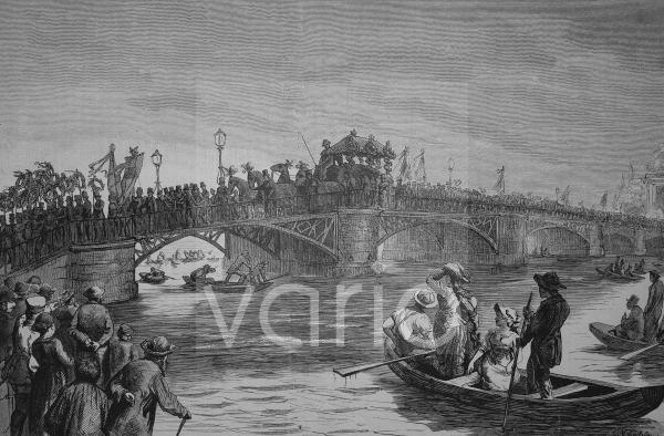 Leichenzug von Hermann Schulze-Delitzsch, eigentlich Franz Hermann Schulze, 1808 - 1883, ein deutscher Politiker und der Begründer des deutschen Genossenschaftswesens, auf der langen Brücke in Potsdam