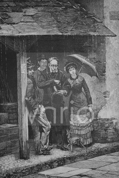 Sommerfrischler haben sich bei Regen untergestellt, historischer Stich, 1883