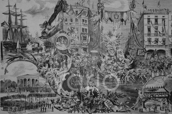 Das allgemeine erste deutsche Kriegerfest in Hamburg, Deutschland, historischer Stich, 1883