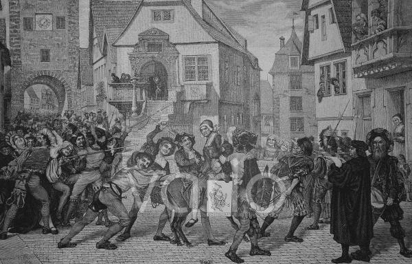 Bestrafung des häuslichen Unfriedens im Mittelalter, historischer Stich, 1883