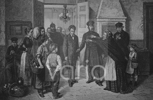 Verbrecher wird gefangengenommen, historischer Stich, 1883