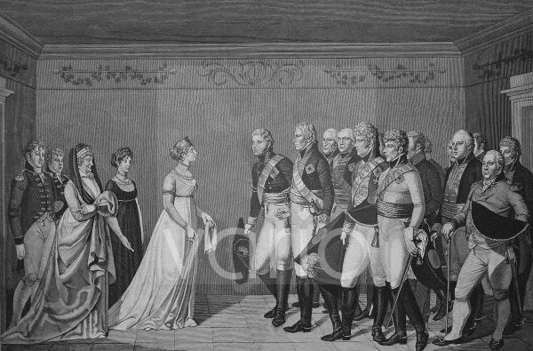 Begegnung der Königin Luise mit Kaiser Alexander I am 10.11.1802, historischer Stich, 1883