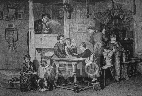 Spielen mit Kindern am Sonntagnachmittag in einer Bürgerwohnung, historischer Stich, 1883